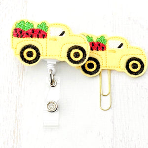 Strawberry Truck Badge Reel, Planner Clip, ID Holder, Magnet, Brooch Pin, (839)