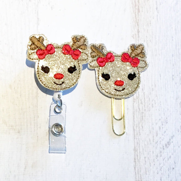 Christmas Glitter Reindeer Badge Reel, Planner Clip, ID Holder, Magnet, Brooch Pin, (595)
