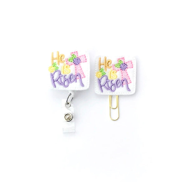 He Is Risen Easter Badge Reel, Planner Clip, ID Holder, Magnet, Brooch Pin,