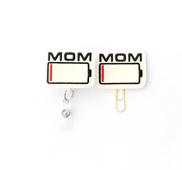 Glitter Tired Mom Battery Badge Reel, Planner Clip, ID Holder, Magnet, Brooch Pin, (1414)