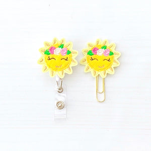 Sun Sunshine Summer Badge Reel, Planner Clip, ID Holder, Magnet, Brooch Pin, (191)
