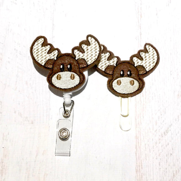Moose Badge Reel, Planner Clip, ID Holder, Magnet, Brooch Pin, (1025)