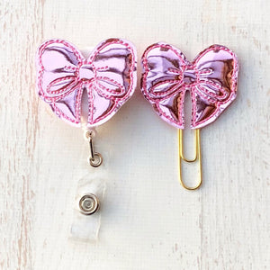 Pink Mirror Bow Badge Reel, Planner Clip, ID Holder, Magnet, Brooch Pin, (290)