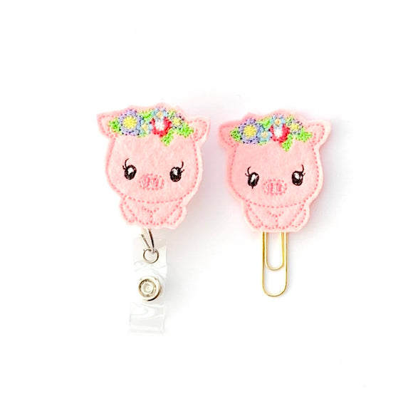 Floral Pig Piggy Badge Reel, Planner Clip, ID Holder, Magnet, Brooch Pin, (1019)