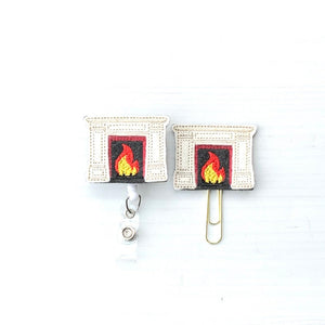 Fireplace Fire Badge Reel, Planner Clip, ID Holder, Magnet, Brooch Pin, (1190)