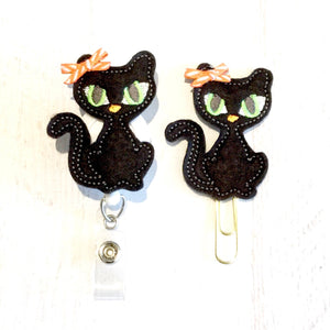 Halloween Cat Badge Reel, Planner Clip, ID Holder, Magnet, Brooch Pin, (533)