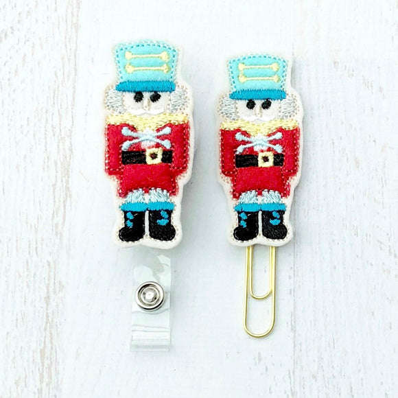 Christmas Nutcracker Badge Reel, Planner Clip, ID Holder, Magnet, Brooch Pin, (814)