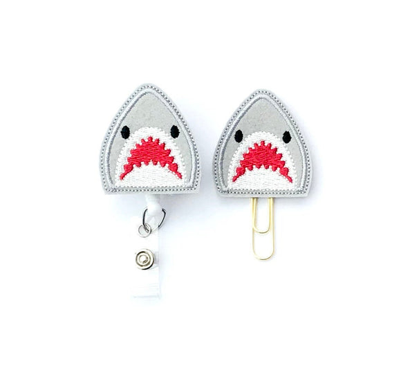 Great White Shark Badge Reel, Planner Clip, ID Holder, Magnet, Brooch Pin,
