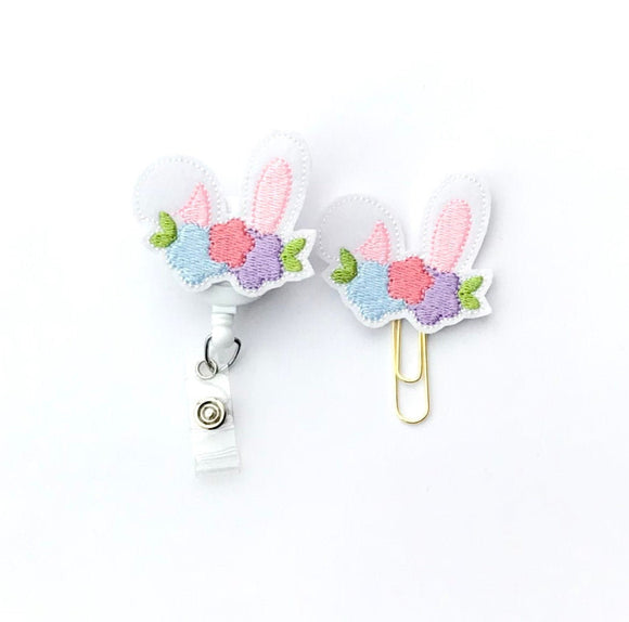 Easter Bunny Ears Badge Reel, Planner Clip, ID Holder, Magnet, Brooch Pin,