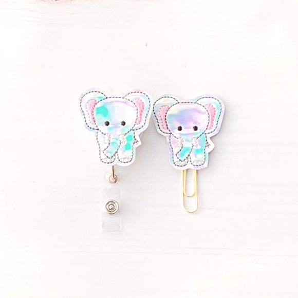Holo Elephant Badge Reel, Planner Clip, ID Holder, Magnet, Brooch Pin, (1317)