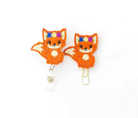 Fox Badge Reel, Planner Clip, ID Holder, Magnet, Brooch Pin,