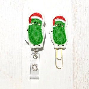 Christmas Pickle Badge Reel, Planner Clip, ID Holder, Magnet, Brooch Pin, (346)