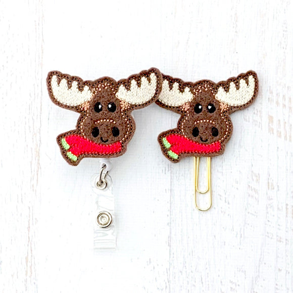 Moose Badge Reel, Planner Clip, ID Holder, Magnet, Brooch Pin,