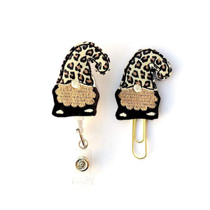 Leopard Gnome Badge Reel, Planner Clip, ID Holder, Magnet, Brooch Pin, (263)