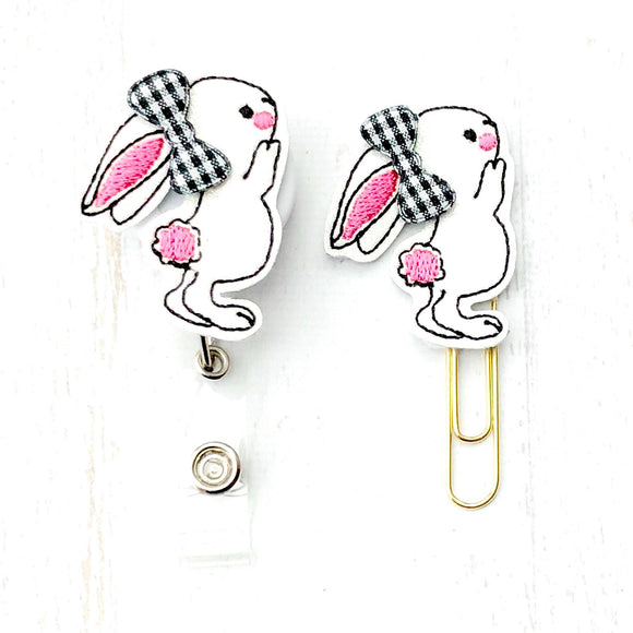 Easter Glitter Bunny Rabbit Badge Reel, Planner Clip, ID Holder, Magnet, Brooch Pin, (304)