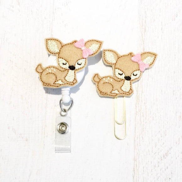 Deer Badge Reel, Planner Clip, ID Holder, Magnet, Brooch Pin, (397)