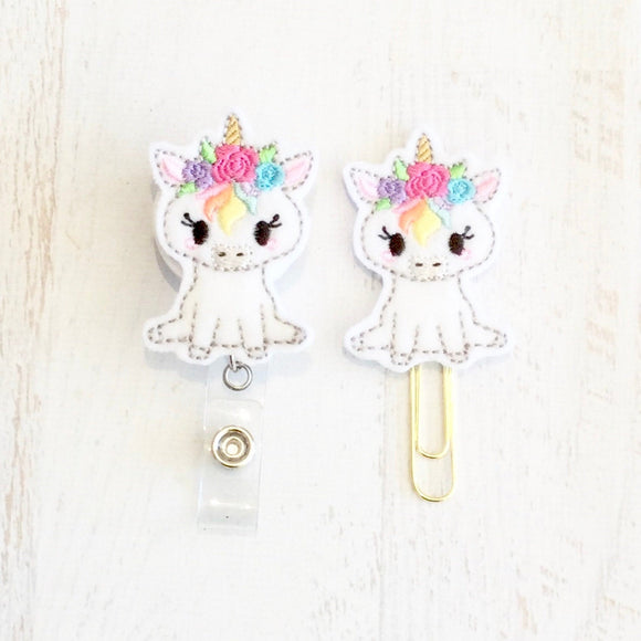 Unicorn Badge Reel, Planner Clip, ID Holder, Magnet, Brooch Pin, (723)