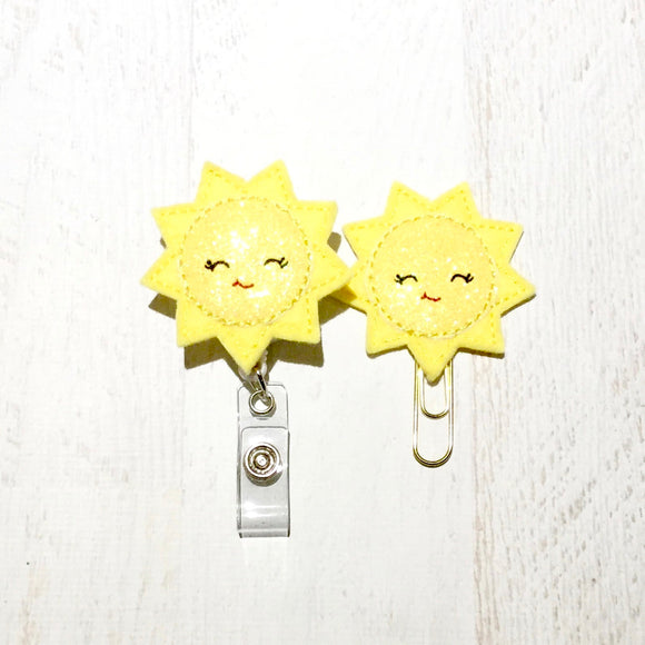 Glitter Sun Sunshine Badge Reel, Planner Clip, ID Holder, Magnet, Brooch Pin, (995)