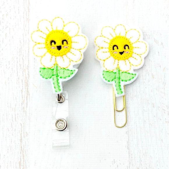 Daisy Flower Nurse RN Badge Reel, Planner Clip, ID Holder, Magnet, Brooch Pin, (653)