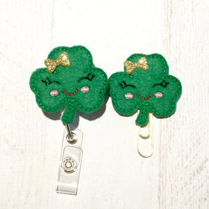 St Patricks Day Shamrock Badge Reel, Planner Clip, ID Holder, Magnet, Brooch Pin, (976)