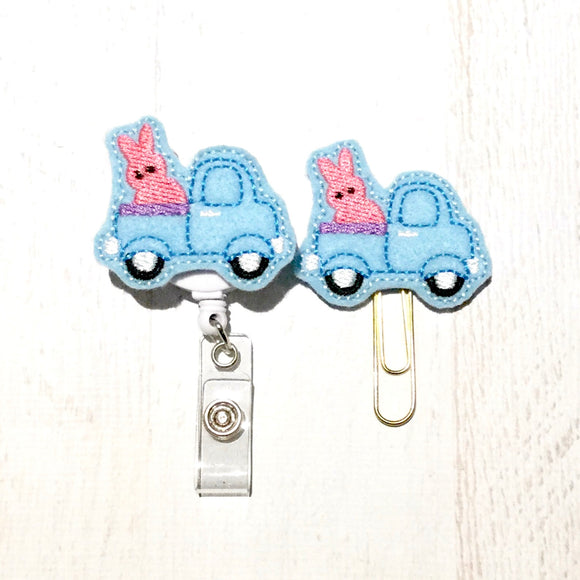 Bunny Rabbit Truck Easter Badge Reel, Planner Clip, ID Holder, Magnet, Brooch Pin, (1029)