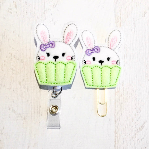 Easter Bunny Cupcake Badge Reel, Planner Clip, ID Holder, Magnet, Brooch Pin, (510)