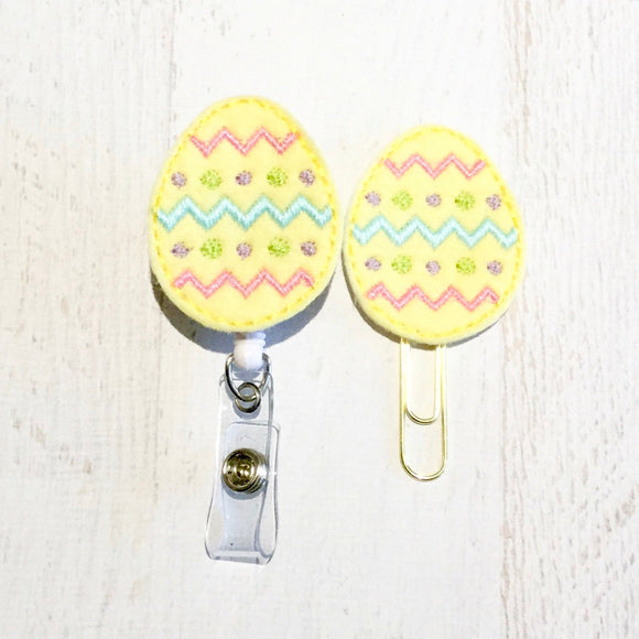 Easter Egg Badge Reel, Planner Clip, ID Holder, Magnet, Brooch Pin, (133)