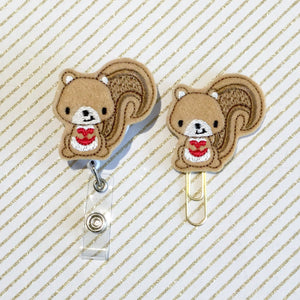 Cute Squirrel Badge Reel, Planner Clip, ID Holder, Magnet, Brooch Pin, (1011)