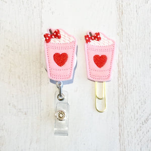 Valentine Heart Latte Frap Badge Reel, Planner Clip, ID Holder, Magnet, Brooch Pin, (787)