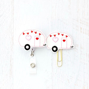 Glitter Valentines Camper Badge Reel, Planner Clip, ID Holder, Magnet, Brooch Pin, (1155)