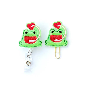 Valentine Glitter Frog Badge Reel, Planner Clip, ID Holder, Magnet, Brooch Pin, (513)