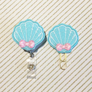 Seashell Shell Badge Reel, Planner Clip, ID Holder, Magnet, Brooch Pin, (681)