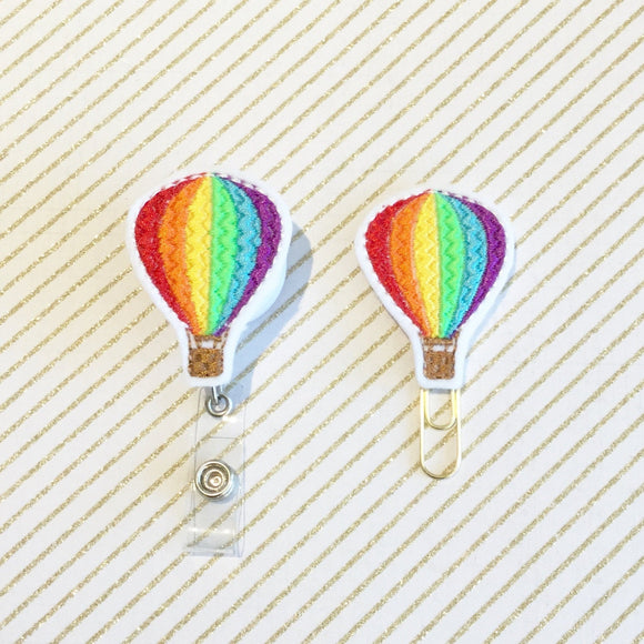Hot Air Balloon Badge Reel, Planner Clip, ID Holder, Magnet, Brooch Pin, (212)