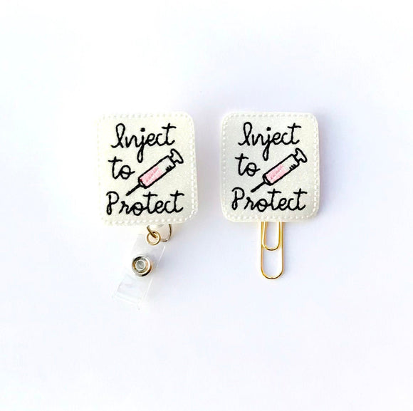 Glitter Inject To Protect Nurse Badge Reel, Planner Clip, ID Holder, Magnet, Brooch Pin, (883)