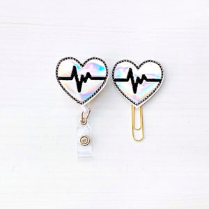 Holo EKG Cardiologists Heart Badge Reel, Planner Clip, ID Holder, Magnet, Brooch Pin, (584)