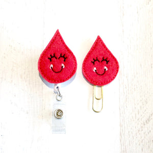 Blood Drop Phlebotomist Badge Reel, Planner Clip, ID Holder, Magnet, Brooch Pin, (948)