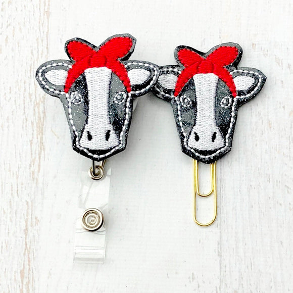 Glitter Cow with Bandana Badge Reel, Planner Clip, ID Holder, Magnet, Brooch Pin, (435)