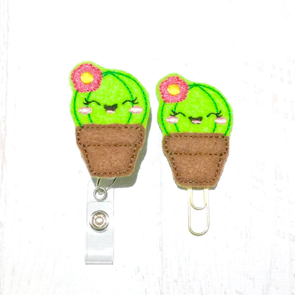 Cactus Succulent Badge Reel, Planner Clip, ID Holder, Magnet, Brooch Pin, (396)