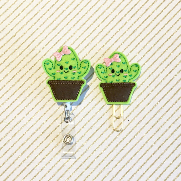 Cactus Succulent Badge Reel, Planner Clip, ID Holder, Magnet, Brooch Pin, (241)