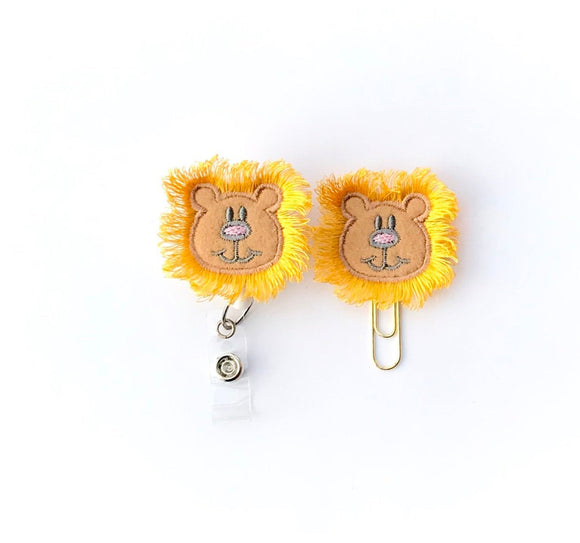 Lion Badge Reel, Planner Clip, ID Holder, Magnet, Brooch Pin, (148)