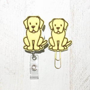 Yellow Lab Labrador Dog Badge Reel, Planner Clip, ID Holder, Magnet, Brooch Pin, (181)