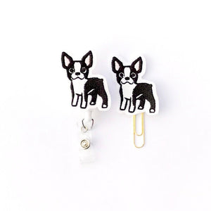 Boston Terrier Badge Reel, Planner Clip, ID Holder, Magnet, Brooch Pin,