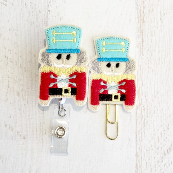 Christmas Nutcracker Badge Reel, Planner Clip, ID Holder, Magnet, Brooch Pin, (427)