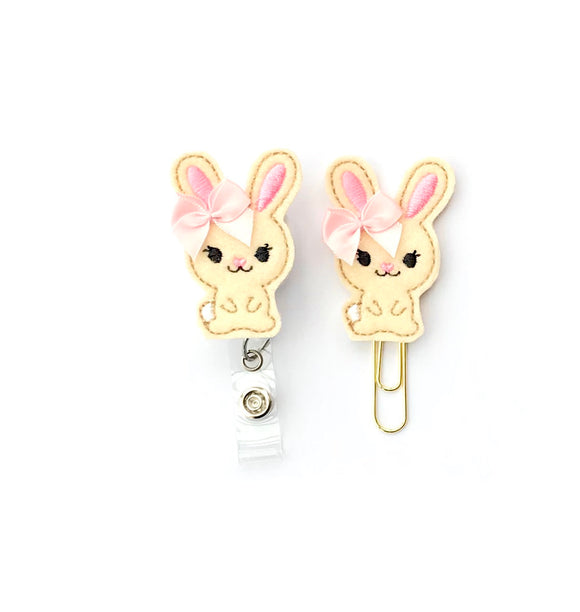 Easter Spring Bunny Badge Reel, Planner Clip, ID Holder, Magnet, Brooch Pin, (1397)