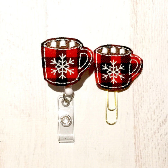 Buffalo Plaid Cocoa Mug Badge Reel, Planner Clip, ID Holder, Magnet, Brooch Pin, (1074)