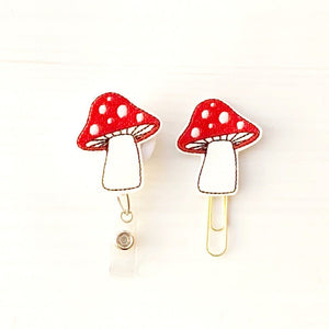 Glitter Mushroom Badge Reel, Planner Clip, ID Holder, Magnet, Brooch Pin, (161)