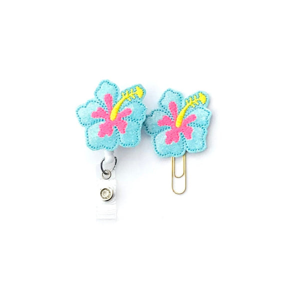 Glitter Blue Hibiscus Flower Badge Reel, Planner Clip, ID Holder, Magnet, Brooch Pin,