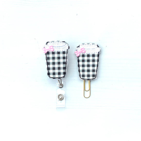 Fall Black White Plaid Coffee Cup Badge Reel, Planner Clip, ID Holder, Magnet, Brooch Pin, (837)