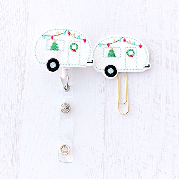 Glitter Christmas Camper Badge Reel, Planner Clip, ID Holder, Magnet, Brooch Pin,(1101)