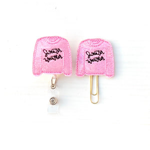 Fall Pink Glitter Sweater Weather Badge Reel, Planner Clip, ID Holder, Magnet, Brooch Pin, (146)